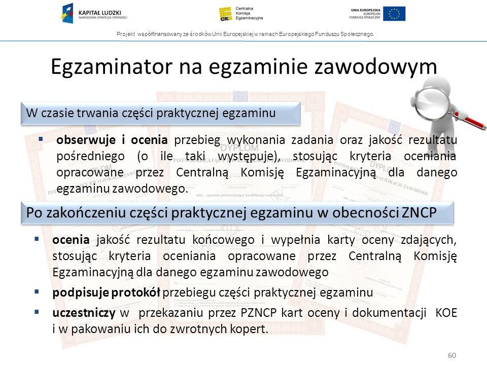 Projekt współfinansowany ze środków Unii Europejskiej w ramach Europejskiego Funduszu Społecznego. 60 Egzaminator na egzaminie zawodowym obserwuje i o