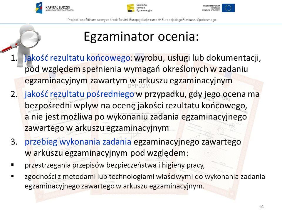 Projekt współfinansowany ze środków Unii Europejskiej w ramach Europejskiego Funduszu Społecznego. 61 Egzaminator ocenia: 1.jakość rezultatu końcowego