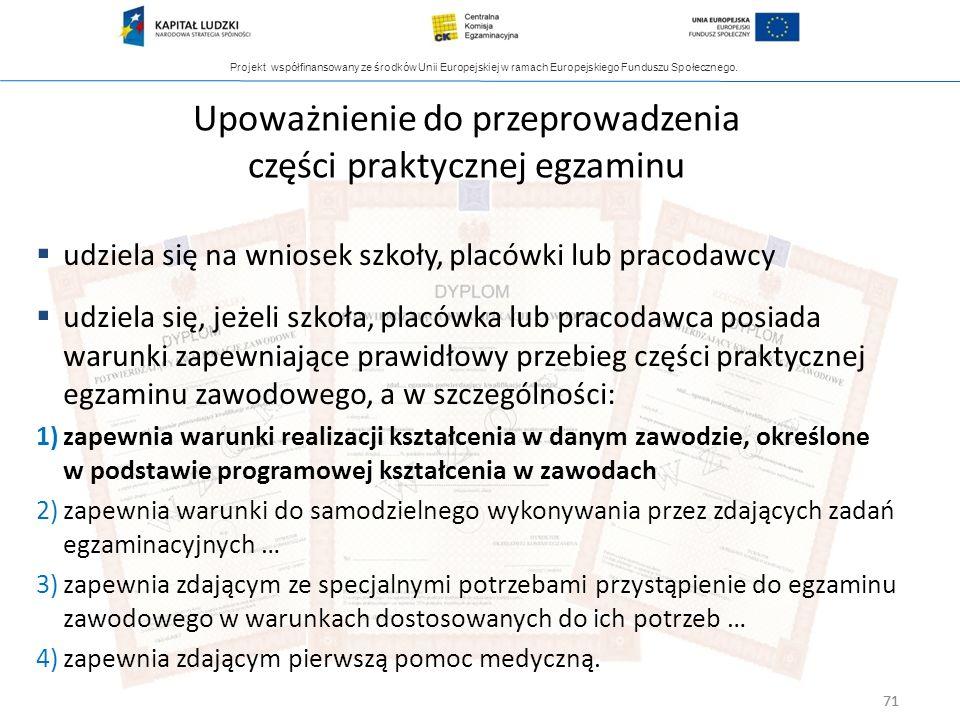 Projekt współfinansowany ze środków Unii Europejskiej w ramach Europejskiego Funduszu Społecznego. 71 Upoważnienie do przeprowadzenia części praktyczn