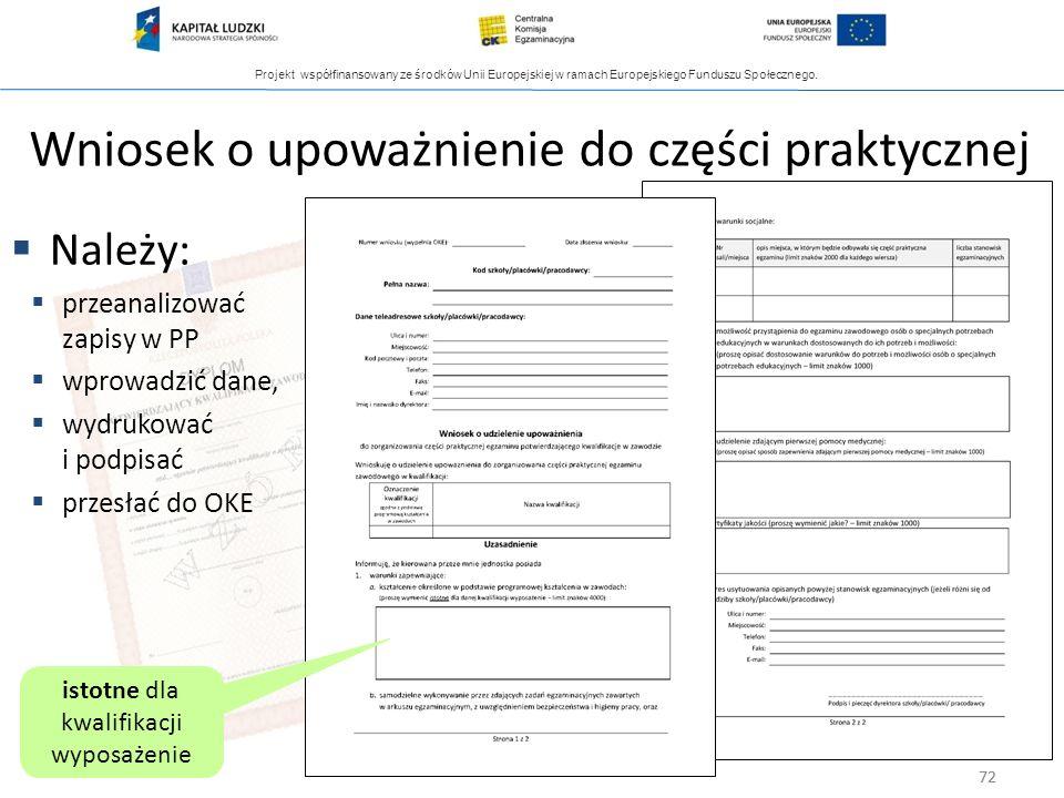 Projekt współfinansowany ze środków Unii Europejskiej w ramach Europejskiego Funduszu Społecznego. 72 Wniosek o upoważnienie do części praktycznej Nal