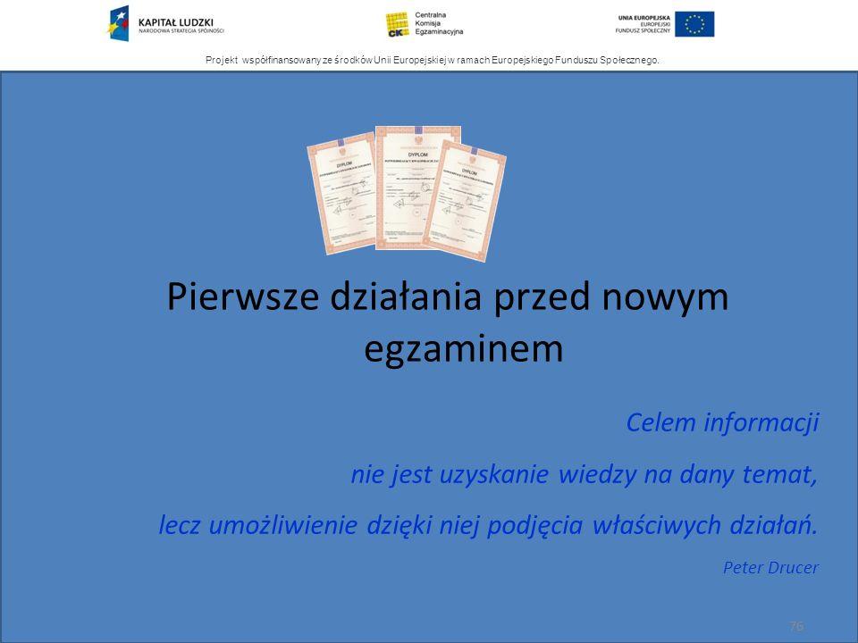 Projekt współfinansowany ze środków Unii Europejskiej w ramach Europejskiego Funduszu Społecznego. 76 Celem informacji nie jest uzyskanie wiedzy na da