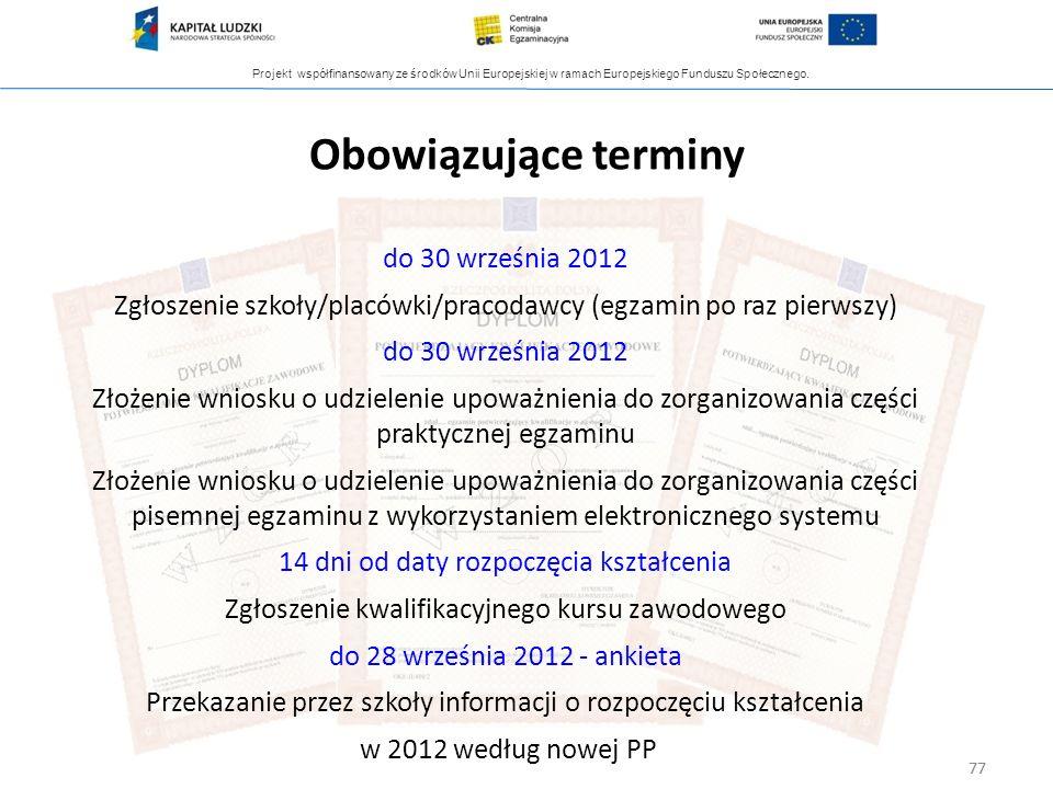 Projekt współfinansowany ze środków Unii Europejskiej w ramach Europejskiego Funduszu Społecznego. 77 do 30 września 2012 Zgłoszenie szkoły/placówki/p