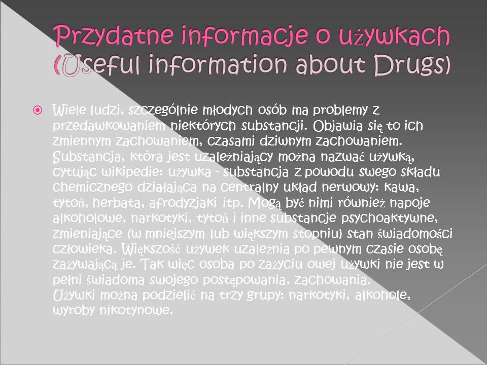 Wiele ludzi, szczególnie młodych osób ma problemy z przedawkowaniem niektórych substancji.