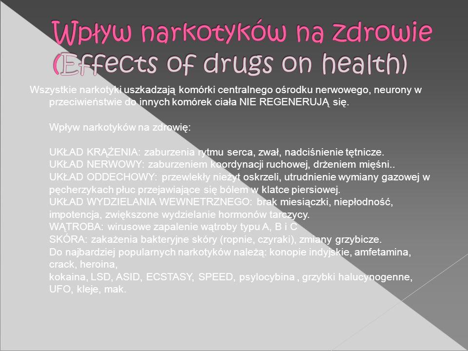 Wszystkie narkotyki uszkadzają komórki centralnego ośrodku nerwowego, neurony w przeciwieństwie do innych komórek ciała NIE REGENERUJĄ się. Wpływ nark