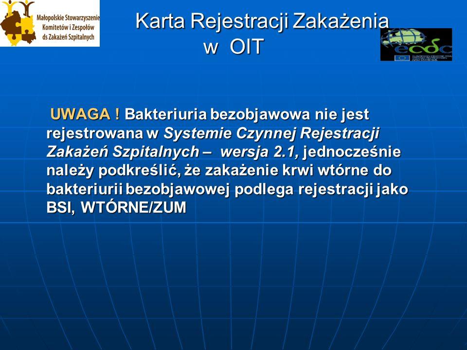 Karta Rejestracji Zakażenia w OIT Karta Rejestracji Zakażenia w OIT UWAGA .