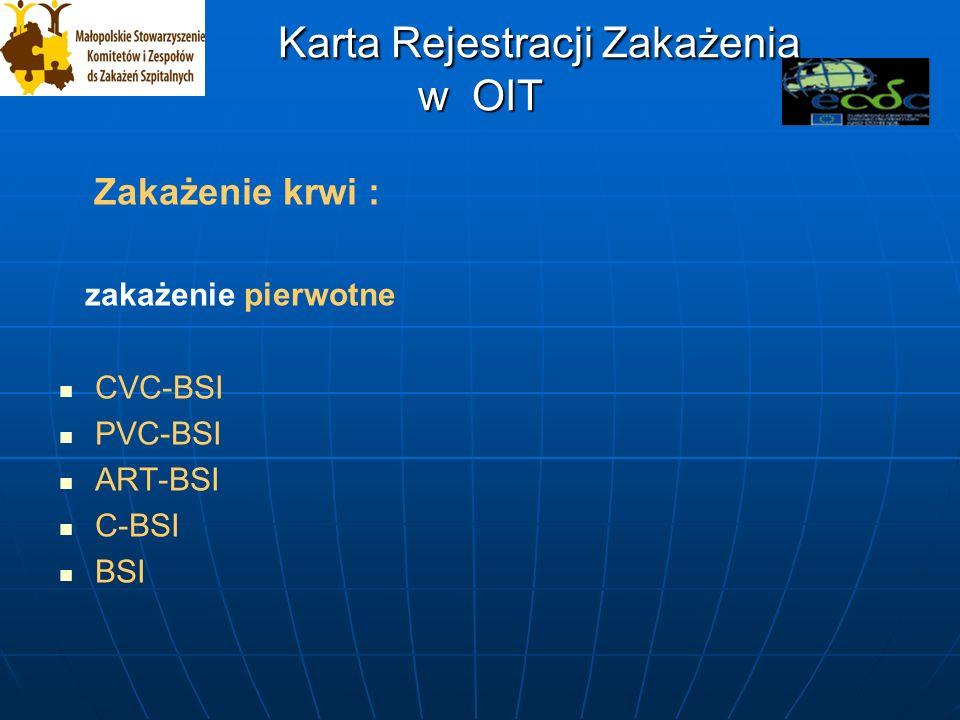 Karta Rejestracji Zakażenia w OIT Karta Rejestracji Zakażenia w OIT Zakażenie krwi : zakażenie pierwotne CVC-BSI PVC-BSI ART-BSI C-BSI BSI