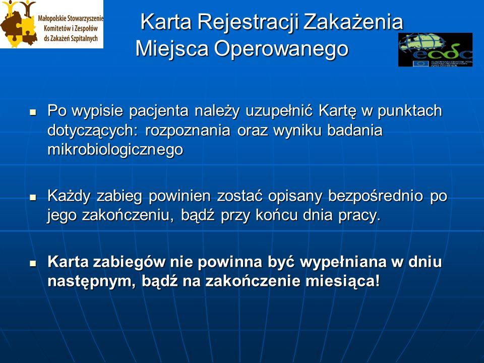 Karta Rejestracji Zakażenia Miejsca Operowanego Karta Rejestracji Zakażenia Miejsca Operowanego WYPEŁNIA PIELĘGNIARKA EPIDEMIOLOGICZNA CZYNNIKI RYZYKA ZAKAŻEŃ Data pierwszych objawów: ____ /____ / 20___ Mikrobiologiczne potwierdzenie zakażenia: tak, nie, bd Wykrycie zakażenia: przed wypisem po wypisie ponowne przyjęcie do szpitala ZMO Forma ZMO: powierzchowne, głębokie narządowe bd