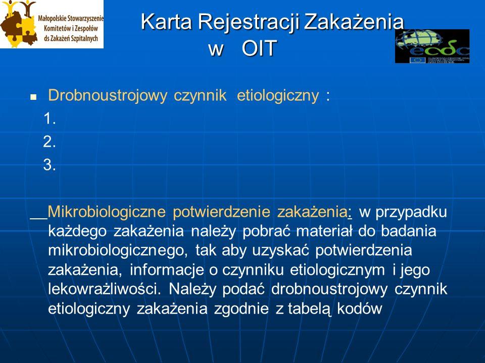 Karta Rejestracji Zakażenia w OIT Karta Rejestracji Zakażenia w OIT Drobnoustrojowy czynnik etiologiczny : 1.