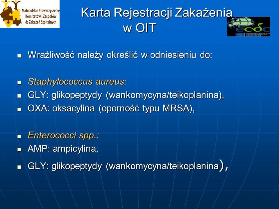 Karta Rejestracji Zakażenia w OIT Karta Rejestracji Zakażenia w OIT Wrażliwość należy określić w odniesieniu do: Wrażliwość należy określić w odniesieniu do: Staphylococcus aureus: Staphylococcus aureus: GLY: glikopeptydy (wankomycyna/teikoplanina), GLY: glikopeptydy (wankomycyna/teikoplanina), OXA: oksacylina (oporność typu MRSA), OXA: oksacylina (oporność typu MRSA), Enterococci spp.: Enterococci spp.: AMP: ampicylina, AMP: ampicylina, GLY: glikopeptydy (wankomycyna/teikoplanina ), GLY: glikopeptydy (wankomycyna/teikoplanina ),