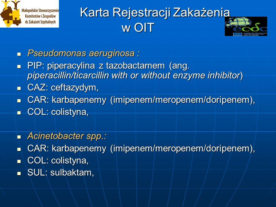 Karta Rejestracji Zakażenia w OIT Karta Rejestracji Zakażenia w OIT Pseudomonas aeruginosa : Pseudomonas aeruginosa : PIP: piperacylina z tazobactamem (ang.