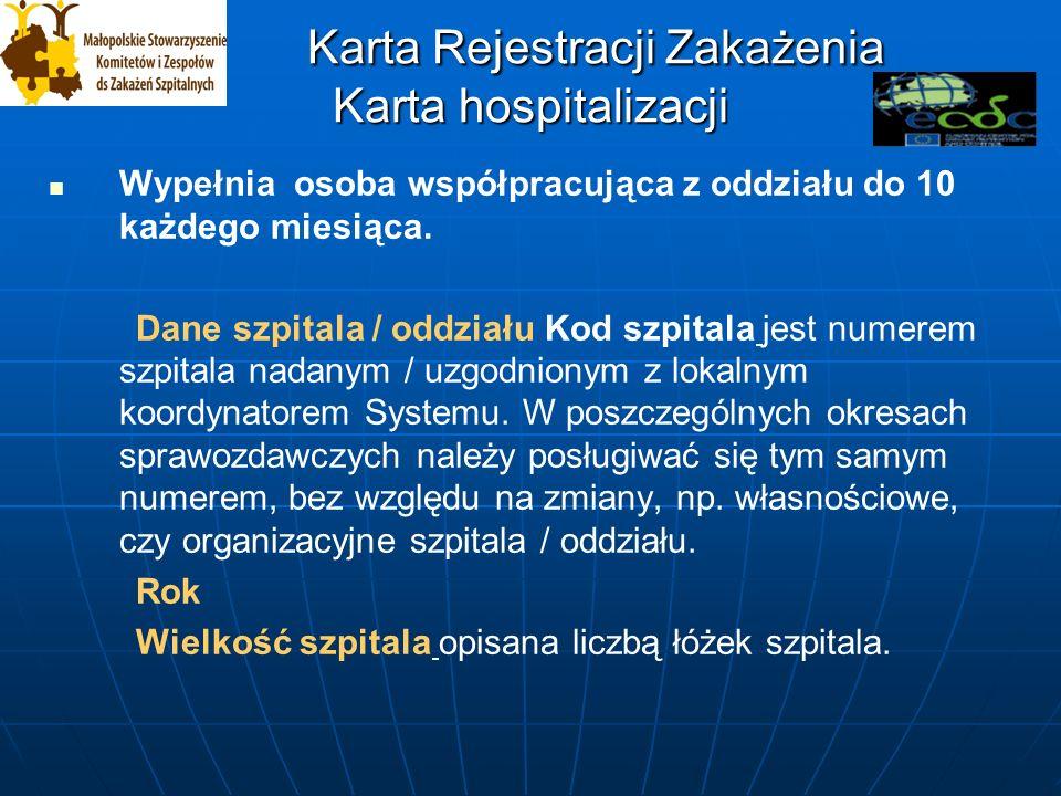 Karta Rejestracji Zakażenia Karta hospitalizacji Karta Rejestracji Zakażenia Karta hospitalizacji Wypełnia osoba współpracująca z oddziału do 10 każdego miesiąca.