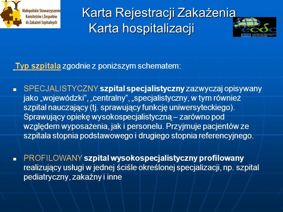 Karta Rejestracji Zakażenia Karta hospitalizacji Karta Rejestracji Zakażenia Karta hospitalizacji Typ szpitala zgodnie z poniższym schematem: SPECJALISTYCZNY szpital specjalistyczny zazwyczaj opisywany jako wojewódzki, centralny, specjalistyczny, w tym również szpital nauczający (tj.