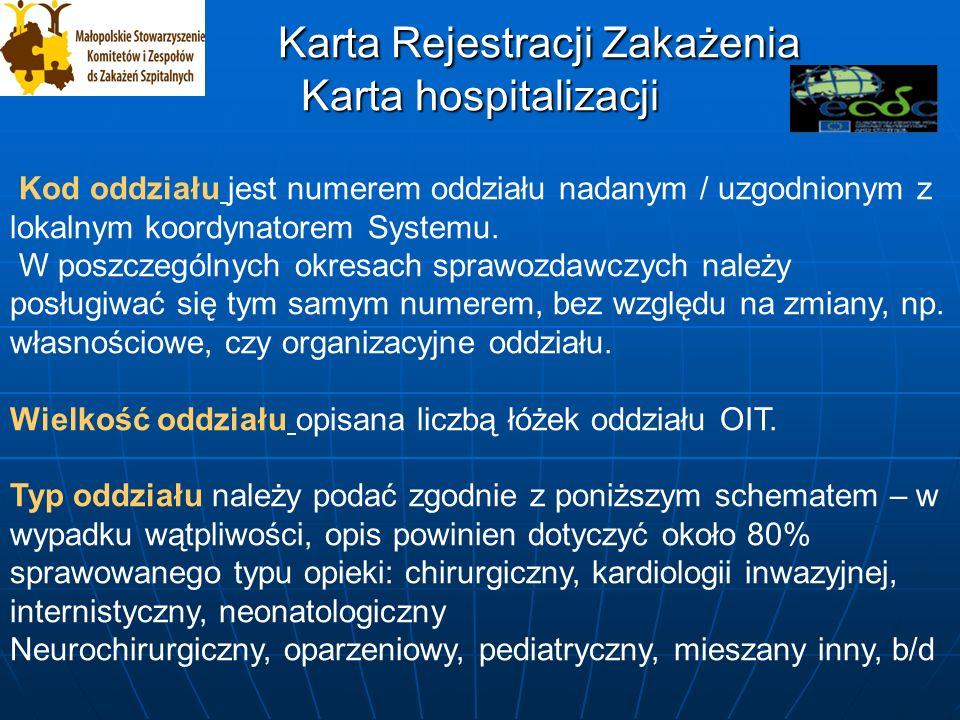Karta Rejestracji Zakażenia Karta hospitalizacji Karta Rejestracji Zakażenia Karta hospitalizacji Kod oddziału jest numerem oddziału nadanym / uzgodnionym z lokalnym koordynatorem Systemu.