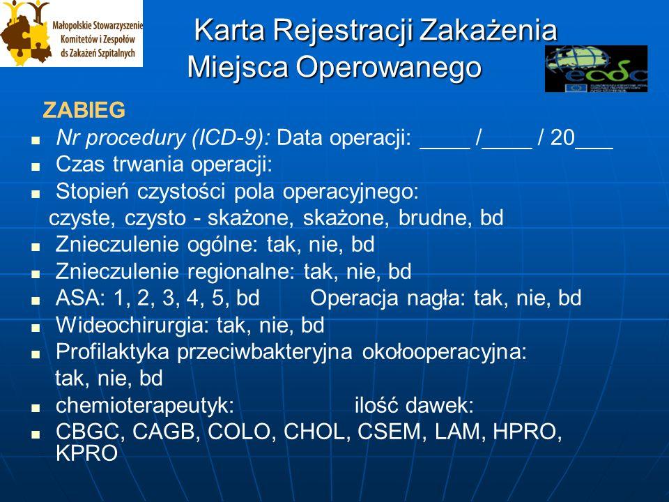 Karta Rejestracji Zakażenia Miejsca Operowanego Karta Rejestracji Zakażenia Miejsca Operowanego Zabieg : Operacja to pojedynczy pobyt w sali operacyjnej, także w przypadku cesarskiego cięcia, gdzie chirurg wykonuje przynajmniej jedno cięcie przez skórę, albo błony śluzowe i wykonuje przynajmniej jeden zabieg zgodny z Międzynarodową Klasyfikacją Procedur i Zabiegów Medycznych (ICD-9).