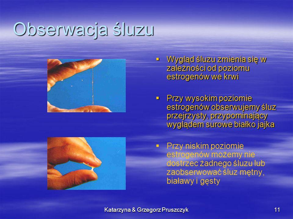 Katarzyna & Grzegorz Pruszczyk12 Zasady obserwacji śluzu Śluz obserwujemy u wejścia do pochwy Badanie to powtarzamy kilka razy dziennie W karcie obserwacji odnotowujemy najlepszy śluz z dnia Każdy śluz jaki pojawi się na początku cyklu, traktujemy jako objaw płodności Przed pojawieniem się śluzu kobieta może zaobserwować odczucie wilgotności w pochwie.