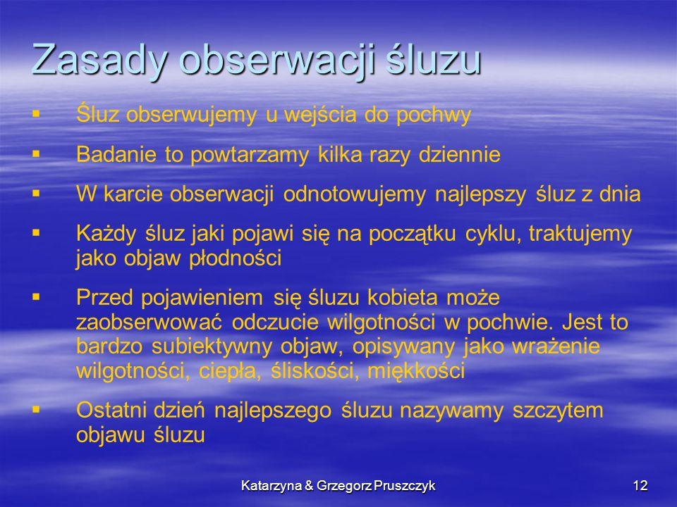 Katarzyna & Grzegorz Pruszczyk12 Zasady obserwacji śluzu Śluz obserwujemy u wejścia do pochwy Badanie to powtarzamy kilka razy dziennie W karcie obser