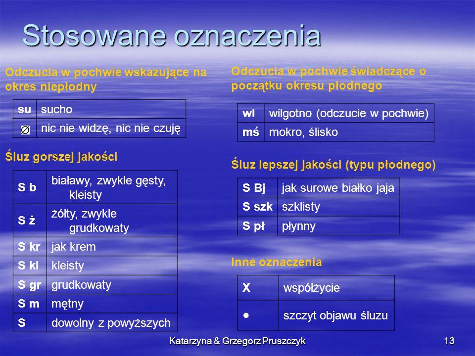 Katarzyna & Grzegorz Pruszczyk13 Stosowane oznaczenia Odczucia w pochwie wskazujące na okres niepłodny susucho nic nie widzę, nic nie czuję Odczucia w