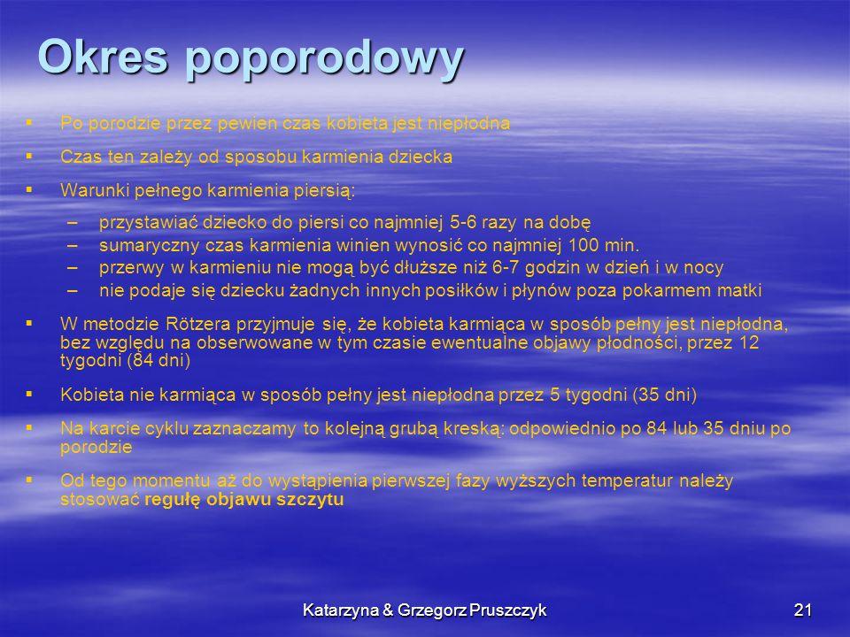 Katarzyna & Grzegorz Pruszczyk21 Okres poporodowy Po porodzie przez pewien czas kobieta jest niepłodna Czas ten zależy od sposobu karmienia dziecka Wa