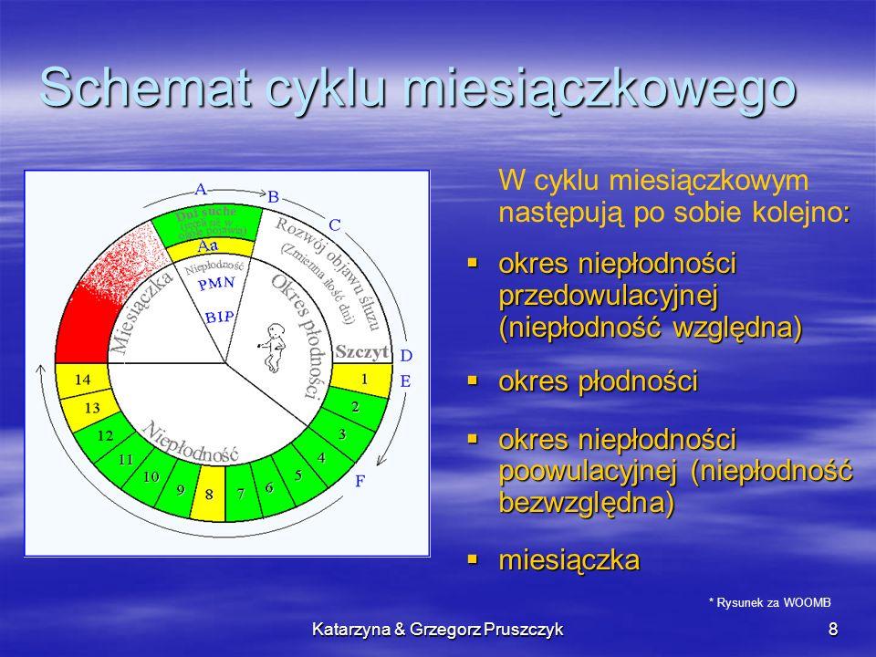Katarzyna & Grzegorz Pruszczyk8 Schemat cyklu miesiączkowego : W cyklu miesiączkowym następują po sobie kolejno: okres niepłodności przedowulacyjnej (