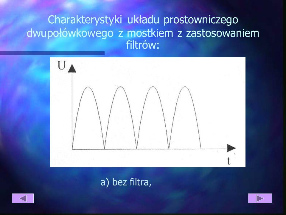 Rys. 4.5. Układ prostowniczy dwupołówkowy z mostkiem: a) schemat układu; b) przebieg napięcia; c) przebieg prądu obciążenia; d) przebieg napięcia na o