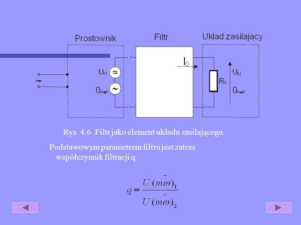 4.4 Filtry. Poziomy tętnień uzyskane na wyjściu prostowników są często zbyt duże dla prawidłowej pracy zasilanych układów elektronicznych. Z tego powo