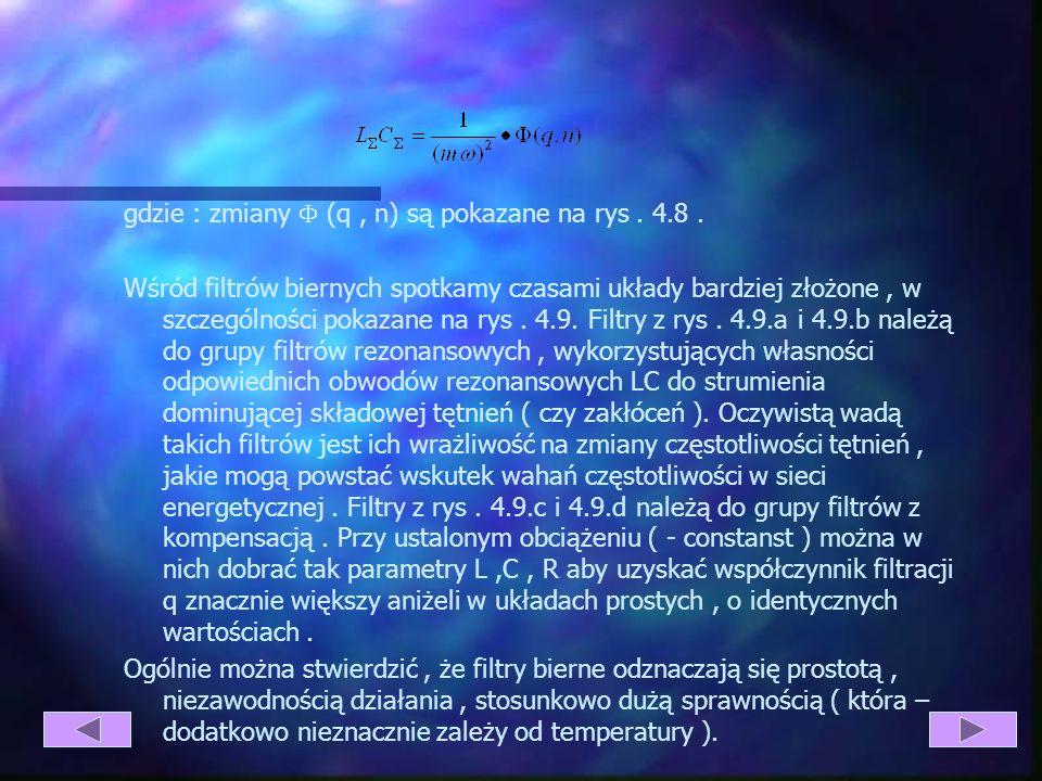 Rys. 4.8. Przebieg funkcji ( q,n ) Wreszcie dość złożona może być optymalizacja filtru pod kątem uzyskania minimalnej masy jego elementów, a nawet min