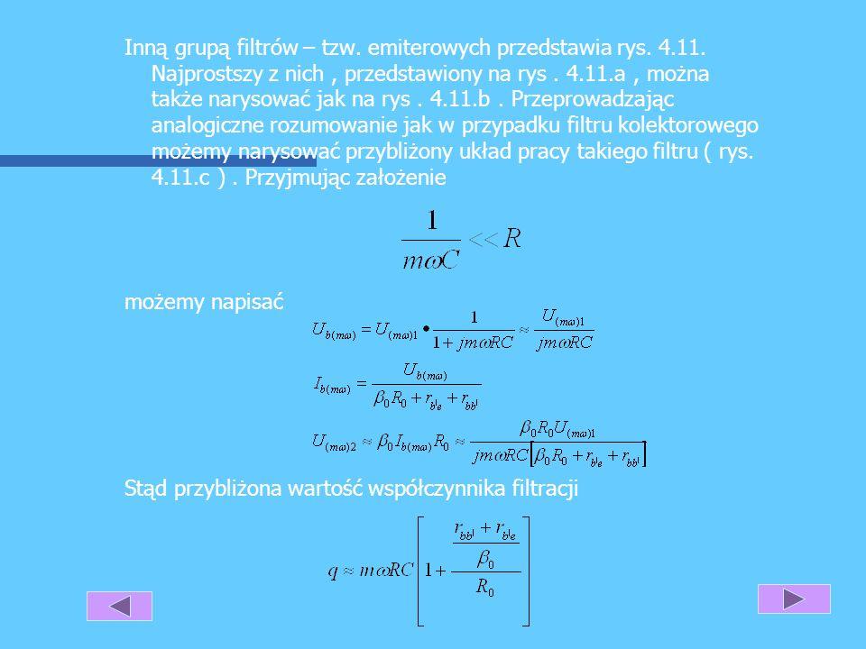 Zauważmy, że układy z rys. 4.10.a można narysować w postaci pokazanej na rys. 4.10.b. Tętnienia na wejściu filtru powodują powstanie składowych zmienn