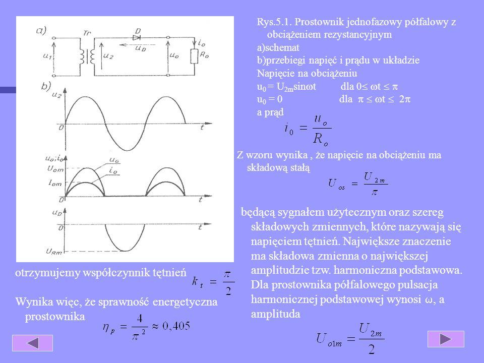 5. Układy prostownicze. Najprostszy prostownik półfalowy (jednopołówkowy), jednofazowy z obciążeniem rezystancyjnym (rys 4.1a) stanowi dioda D włączon