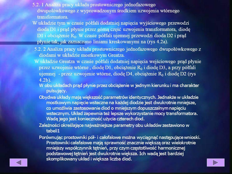 Rys. 5.2. Schemat prostownika całofalowego z obciążeniem rezystancyjnym oraz przebiegi napięć i prądów. wyprowadzonym środkiem uzwojenia wtórnego tran
