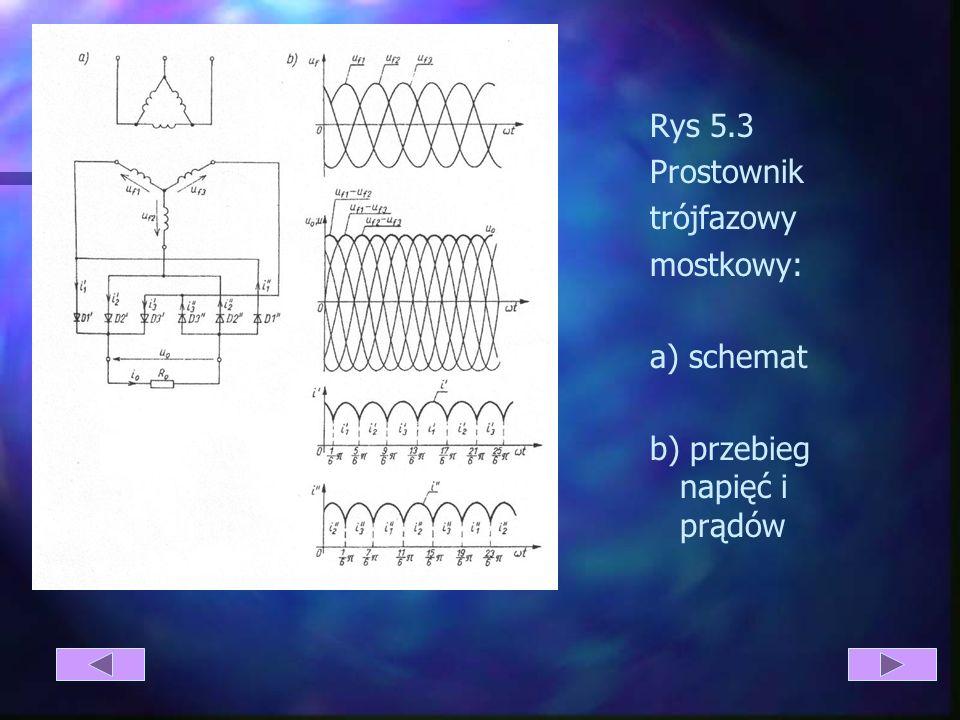 5.3 Analiza pracy układu prostowniczego trójfazowego mostkowego. W układzie prostowniczym mostkowym (rys 4.3) każda faza jest połączona z dwiema dioda