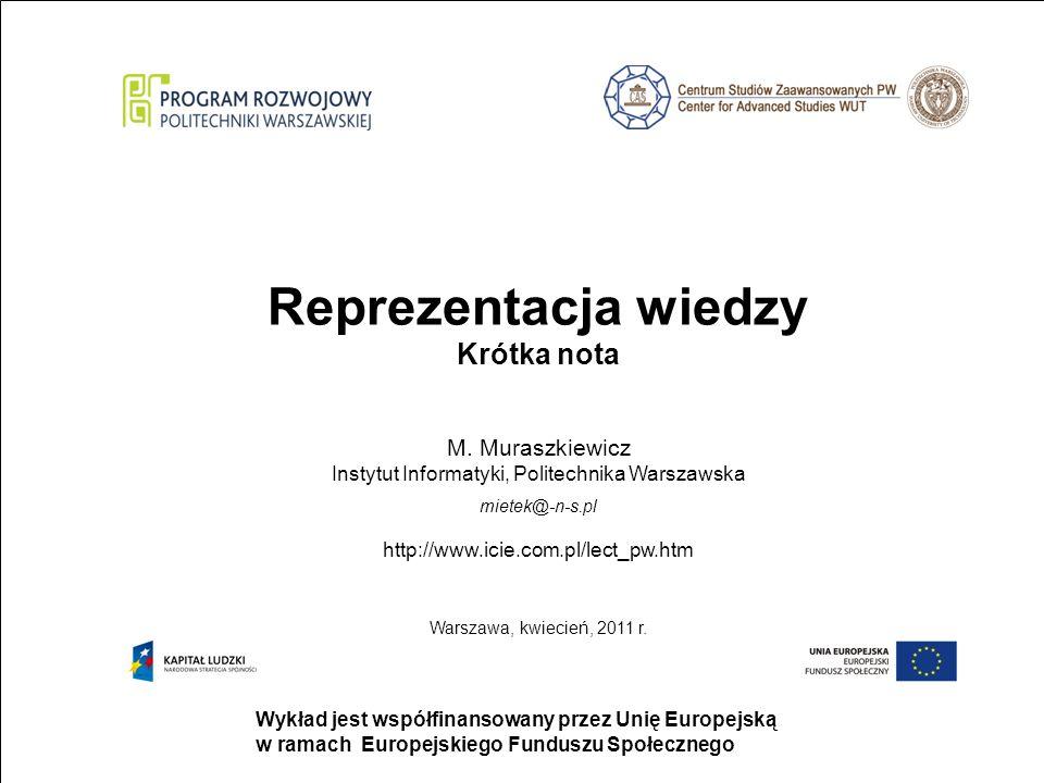 strona 1 Wykład jest współfinansowany przez Unię Europejską w ramach Europejskiego Funduszu Społecznego Reprezentacja wiedzy Krótka nota M.