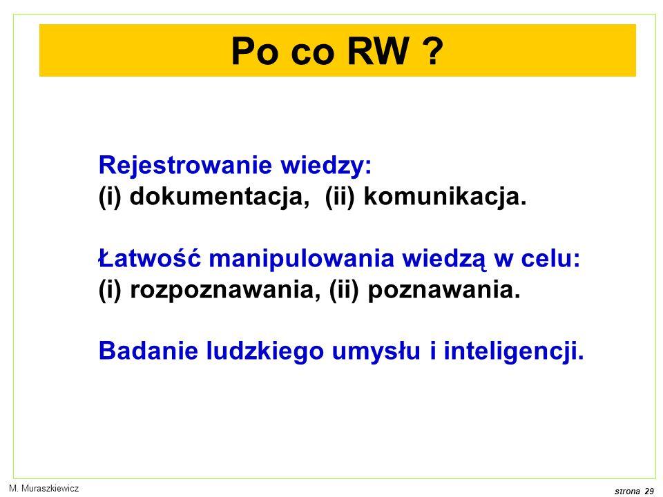 strona 29 M.Muraszkiewicz Po co RW . Rejestrowanie wiedzy: (i) dokumentacja, (ii) komunikacja.