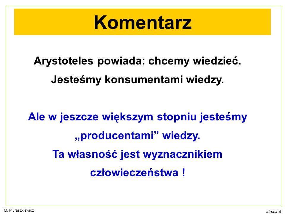 strona 7 M. Muraszkiewicz Pytanie 1 Czy wiedzę odkrywamy, czy tworzymy ?