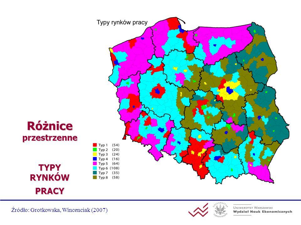 Różnice przestrzenne TYPY RYNKÓW PRACY Źródło: Grotkowska, Wincenciak (2007)