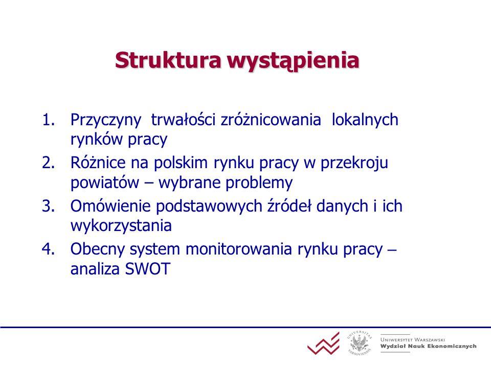 Struktura wystąpienia 1.Przyczyny trwałości zróżnicowania lokalnych rynków pracy 2.Różnice na polskim rynku pracy w przekroju powiatów – wybrane probl