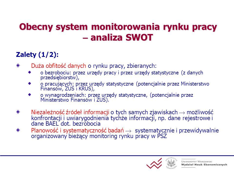 Obecny system monitorowania rynku pracy – analiza SWOT Zalety (1/2): Duża obfitość danych o rynku pracy, zbieranych : o bezrobociu: przez urzędy pracy