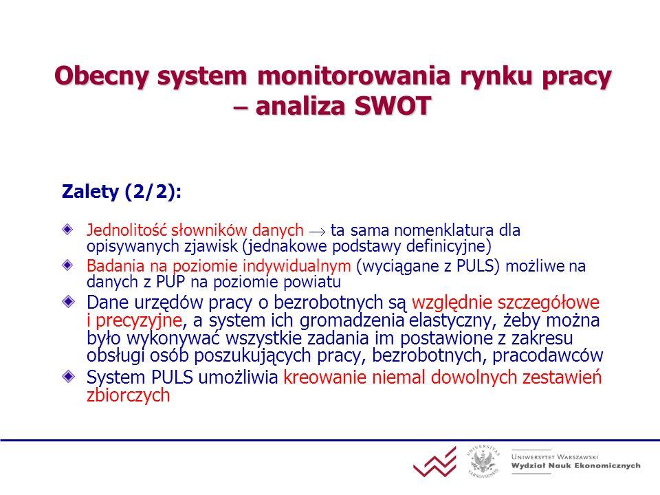 Obecny system monitorowania rynku pracy – analiza SWOT Zalety (2/2): Jednolitość słownik ó w danych ta sama nomenklatura dla opisywanych zjawisk (jedn