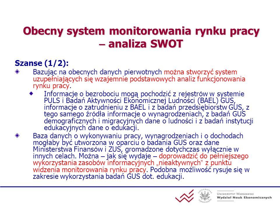Obecny system monitorowania rynku pracy – analiza SWOT Szanse (1/2): Bazując na obecnych danych pierwotnych można stworzyć system uzupełniających się