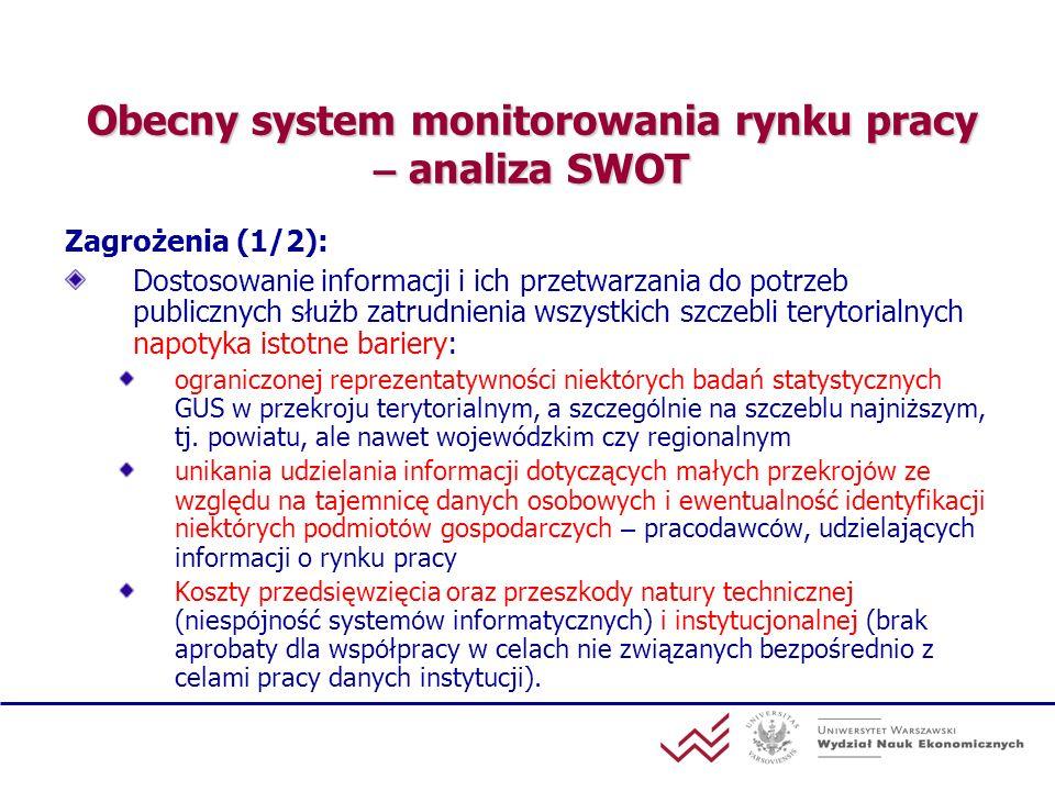 Obecny system monitorowania rynku pracy – analiza SWOT Zagrożenia (1/2): Dostosowanie informacji i ich przetwarzania do potrzeb publicznych służb zatr