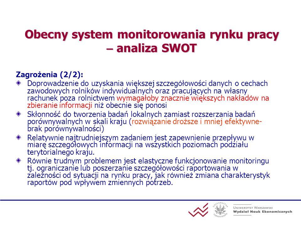 Obecny system monitorowania rynku pracy – analiza SWOT Zagrożenia (2/2): Doprowadzenie do uzyskania większej szczeg ó łowości danych o cechach zawodow