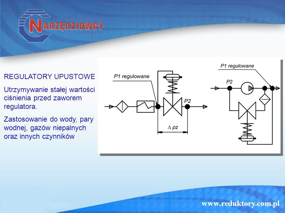 www.reduktory.com.pl REGULATORY UPUSTOWE Utrzymywanie stałej wartości ciśnienia przed zaworem regulatora. Zastosowanie do wody, pary wodnej, gazów nie