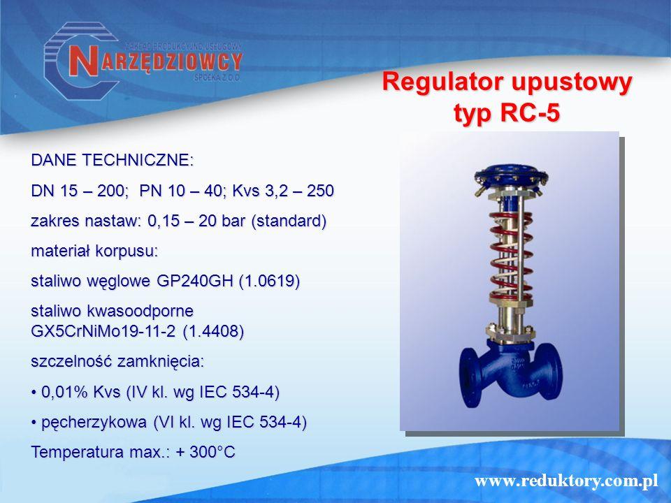 www.reduktory.com.pl Regulator upustowy typ RC-5 DANE TECHNICZNE: DN 15 – 200; PN 10 – 40; Kvs 3,2 – 250 zakres nastaw: 0,15 – 20 bar (standard) mater