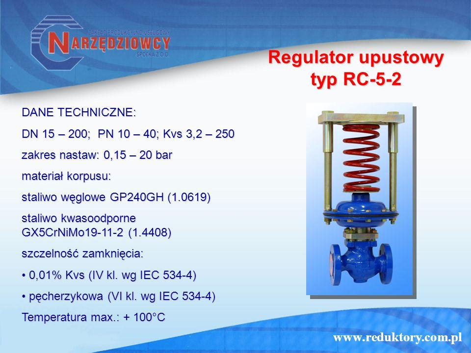 www.reduktory.com.pl Regulator upustowy typ RC-5-2 DANE TECHNICZNE: DN 15 – 200; PN 10 – 40; Kvs 3,2 – 250 zakres nastaw: 0,15 – 20 bar materiał korpu