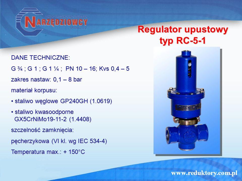 www.reduktory.com.pl Regulator upustowy typ RC-5-1 DANE TECHNICZNE: G ¾ ; G 1 ; G 1 ¼ ; PN 10 – 16; Kvs 0,4 – 5 zakres nastaw: 0,1 – 8 bar materiał ko