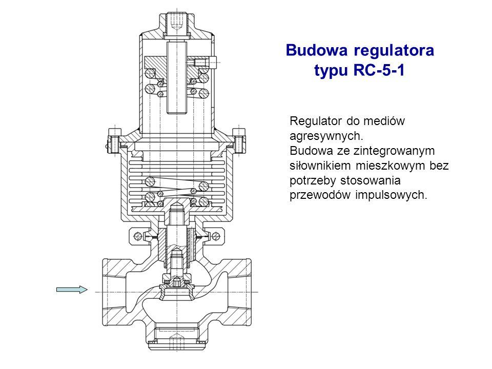Budowa regulatora typu RC-5-1 Regulator do mediów agresywnych. Budowa ze zintegrowanym siłownikiem mieszkowym bez potrzeby stosowania przewodów impuls