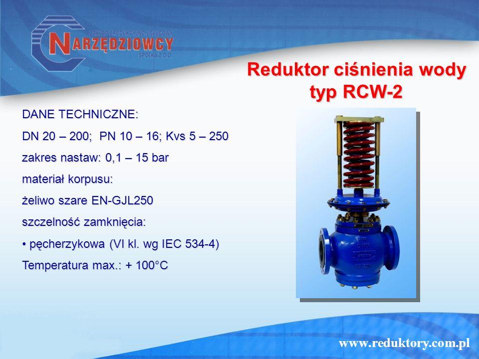 www.reduktory.com.pl Reduktor ciśnienia wody typ RCW-2 DANE TECHNICZNE: DN 20 – 200; PN 10 – 16; Kvs 5 – 250 zakres nastaw: 0,1 – 15 bar materiał korp