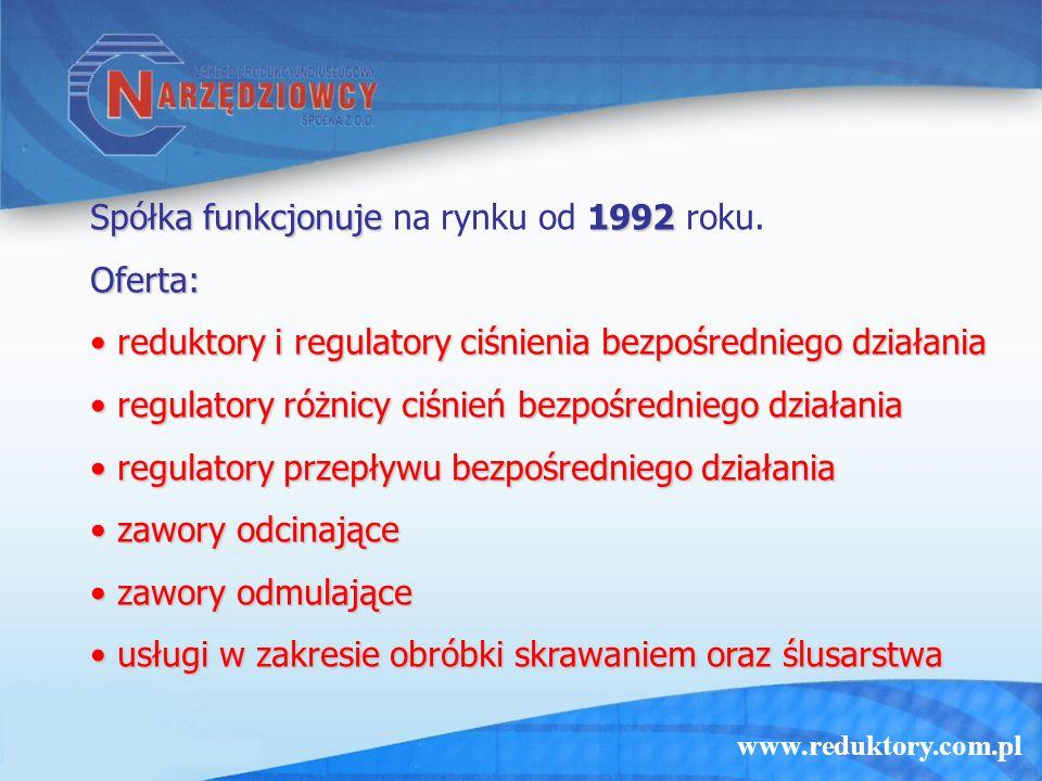 www.reduktory.com.pl Spółka funkcjonuje 1992 Spółka funkcjonuje na rynku od 1992 roku.Oferta: reduktory i regulatory ciśnienia bezpośredniego działania reduktory i regulatory ciśnienia bezpośredniego działania regulatory różnicy ciśnień bezpośredniego działania regulatory różnicy ciśnień bezpośredniego działania regulatory przepływu bezpośredniego działania regulatory przepływu bezpośredniego działania zawory odcinające zawory odcinające zawory odmulające zawory odmulające usługi w zakresie obróbki skrawaniem oraz ślusarstwa usługi w zakresie obróbki skrawaniem oraz ślusarstwa