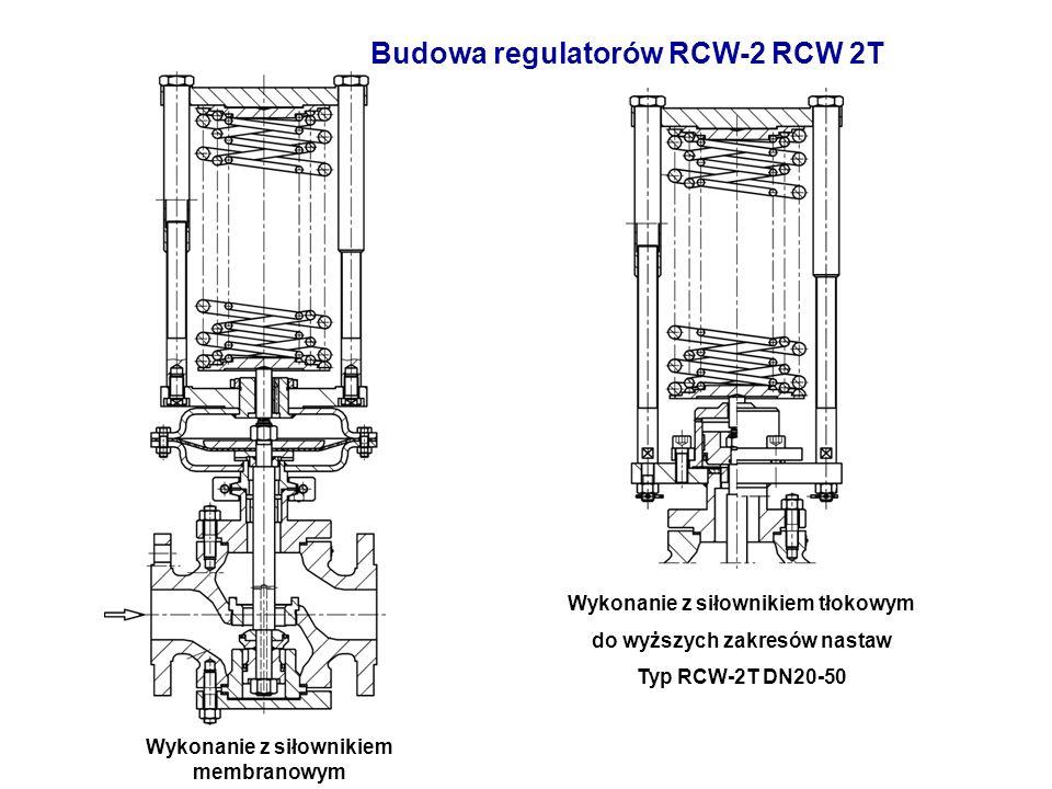 Budowa regulatorów RCW-2 RCW 2T Wykonanie z siłownikiem membranowym Wykonanie z siłownikiem tłokowym do wyższych zakresów nastaw Typ RCW-2T DN20-50