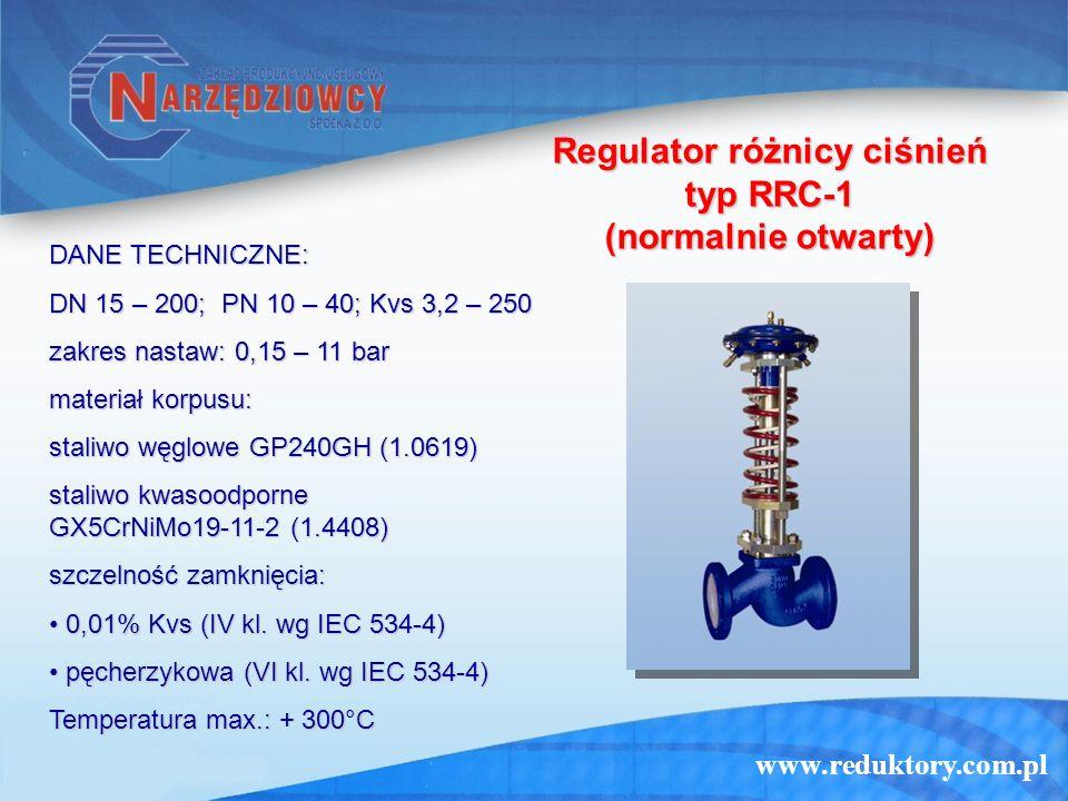 www.reduktory.com.pl Regulator różnicy ciśnień typ RRC-1 (normalnie otwarty) DANE TECHNICZNE: DN 15 – 200; PN 10 – 40; Kvs 3,2 – 250 zakres nastaw: 0,