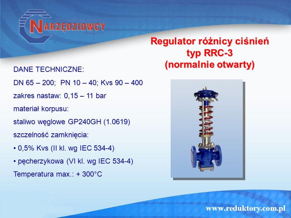 www.reduktory.com.pl Regulator różnicy ciśnień typ RRC-3 (normalnie otwarty) DANE TECHNICZNE: DN 65 – 200; PN 10 – 40; Kvs 90 – 400 zakres nastaw: 0,1